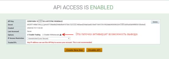 Ключи API для биржи криптовалют Poloniex