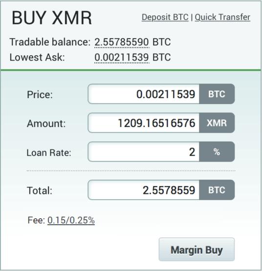 Пример заполненного маржинального ордера на бирже криптовалют Poloniex