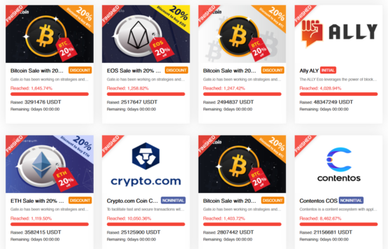 IEO/ICO и дисконтные сейлы на бирже криптовалют Gate