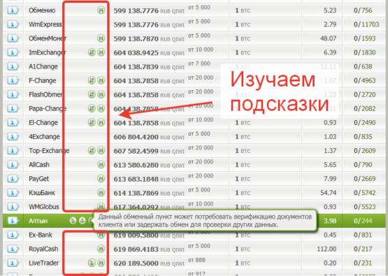 Изучаем подсказки в параметрах онлайн-обменников на Bestchange