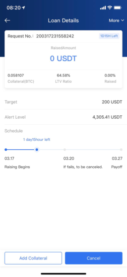 Параметры открытого кредита на бирже криптовалют OKEx