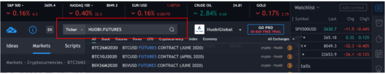 Фьючерсные тикеры на бирже криптовалют Huobi от портала TradingView