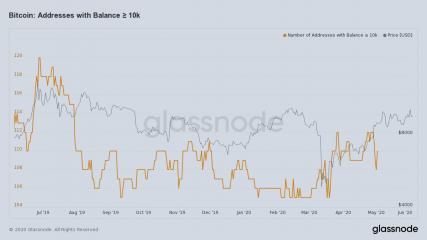 Биткоин адреса с балансов выше 10 000 биткоинов: исторические данные