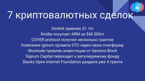 Радар криптовалютных сделок за 18-21 сентября