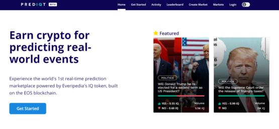 Cкриншот платформы прогнозов Prediqt от Everipedia