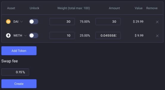 Интерфейс создания пулов на криптобирже Balancer