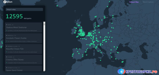 Карта точек доступа устройств Helium в сети