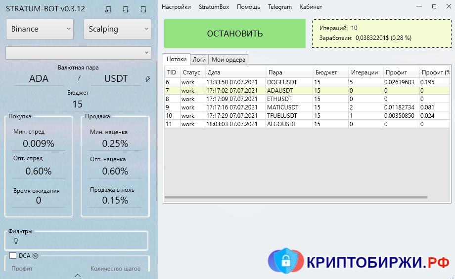 Торговля на Binance с помощью криптобота Stratum